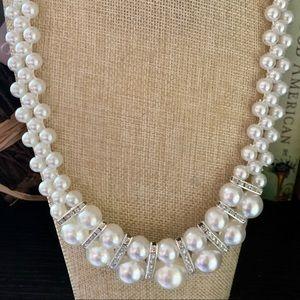 Paparazzi white pearls with rhinestones